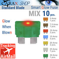 Illuminating Indicator Fuse That Glow When Blown Fuse MINI Blade 7.5A Car Fuse Automotive ATC//ATO Fuses Replacement Kit Smart GLOW Fuse 10 Pack Carax Fuse 10 pcs. Easy Identification