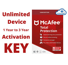 McAfee Total Protection 2021 Unlimited Device 1, 2, 3 Year Premium Subscription