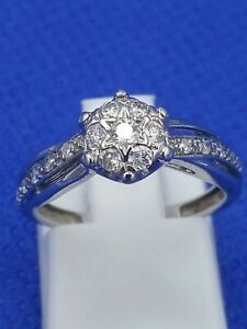 Ernest Jones 9 Carat White Gold 0.25 CT Diamond Cluster Ring Size J -J.5 2.2g
