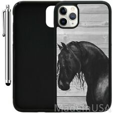 Custom Case For iPhone 11 Pro MAX XR XS MAX 7 8 Plus 6 Plus -Black Horse on Wood