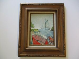 GERALD PAYNE ROWLES B. 1929 PAINTING IMPRESSIONISM NAUTICAL COAST BOAT BEACH SEA