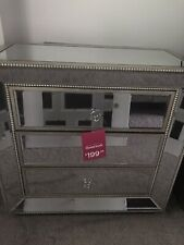 Unbranded Silver Glass Mirror Gold Wood Beaded Drawer Dresser Chest Nightstand