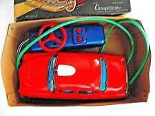 CRAGSTAN 1950's JAPANESE TIN BATTERY REMOTE CONTROL FIRE CHIEF CAR w ORIG. BOX