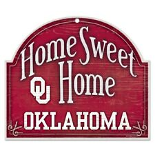 "OKLAHOMA SOONERS HOME SWEET HOME ARCHED WOOD SIGN 10""x11"" BRAND NEW WINCRAFT"