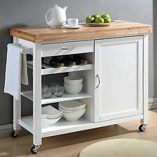 Kitchen Island Bar Cart with Wine Rack Storage Organize Extra Counter Space NEW