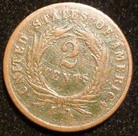 1870 Two Cent Piece 2 Penny US Antique Currency Old U.S. Coin 2 Cent U-GRADE