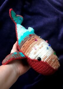 handmade humpback whale stuffed toy gift animal colour decoration yarn doll art