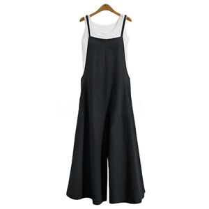 Women Overalls Jumpsuit Strap Rompers Dungaree Loose Baggy Harem Trousers Summer