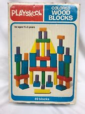 Vintage Playskool Colored Wood Blocks in Original Box 47 Blocks