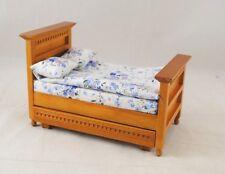 """Bed w/ Trundle dollhouse miniature furniture 1/12"""" scale T6200 oak finish"""