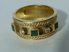 "14 KARAT GOLD WIDE BAND RING W/ 2 DIAMONDS & 3  SQUARE EMERALDS, ""IJM"" MAKER"