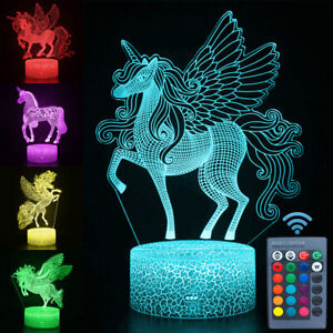 3D Remote LED Night Light Unicorn-series Table Desk Lamp Kids Xmas Birthday Gift