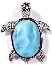 AAA Dominican Larimar Inlay 925 Sterling Silver Sea Turtle Pendant