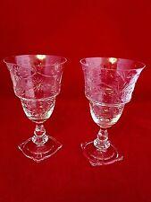 Set of 2 Vintage Crystal Etched Spooner/Footed Juice Glasses