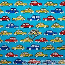 BonEful Fabric Cotton Quilt VTG Aqua Blue Red Taxi Cab CAR Yellow Baby Boy SCRAP
