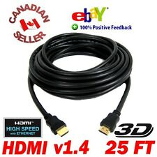 25 ft 7.5M HDMI 1.4 Cable M-Male LCD LED 3D DVD PS3 HDTV Hi Speed with Ethernet