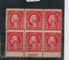 #554 Plate block 6 2c Washington Mint never H. OG  perf. shift up
