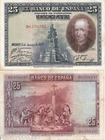 SPAIN 25 Pesetas Banknote World Money F- Old Currency Asia Note BILL 1928 p74b
