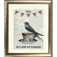 ART PRINT ON ORIGINAL ANTIQUE BOOK PAGE Tea Cup Bird Bunting Vintage Dictionary