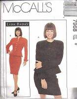 UNCUT Vintage McCalls Sewing Pattern Misses Lida Baday Lined Jacket Skirt 7968