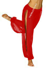 Tms Rojo Slit Harem pantalón Yoga Danza del vientre Tribal 25color