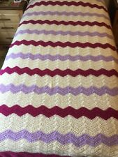 Xl Hand Crochet Burgundy Lavender Cream Ripple Blanket Afghan Single Bed Couch