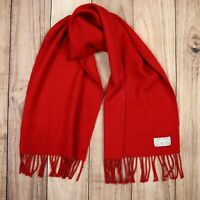 Women Pure Cashmere Scarf Aquascutum Of London Made in GB Red Vintage