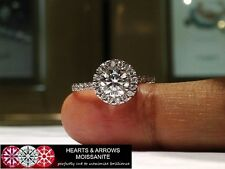 1.50 Carat (DEF) (VVS1) Moissanite Hearts & Arrows Halo Style Ring in 14k Gold