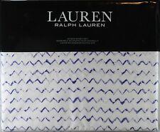Ralph Lauren Queen Sheet Set Nora Zig Zag 4pc Cottage Modern White Blue Unisex