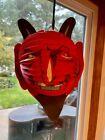 Antique Halloween Lantern Germany, Devil honeycomb, metal candle holder inside
