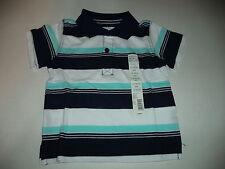 Boys 18 Month Toughskins Navy Stripe Polo Shirt With Aqua And White Stripes
