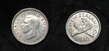 1940 New Zealand Silver 3 pence- Crossed Patu weapons-super nice