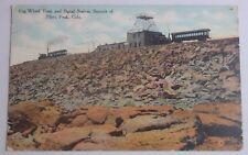 1909 POSTCARD OF COG WHEEL TRAIN & SIGNAL STATION SUMMIT OF PIKE PEAK COLORADO