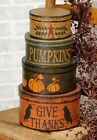 NEW PRIMITIVE AUTUMN BOXES Harvest Fall Round STACKING Storage SET OF 3 Rustic