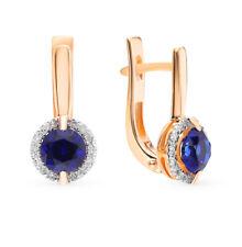 Earrings NEW Russian Solid Rose Gold 14K 585 fine jewelry blue sapphire diamond