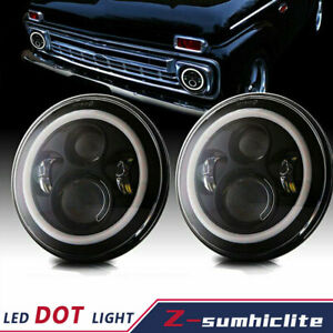 "7"" Projector Round LED Headlight Amber Halo DRL for Chevy C10 C20 Pickup Nova"