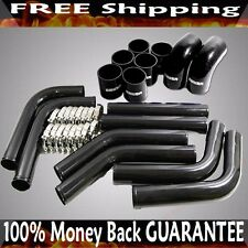 "BLACK 3"" UNIVERSAL Intercooler Piping +Clamp+BlackHoses Fit Toyota Nissan Honda"