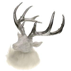Hirschkopf mit Fell weiß glitzer Rentier Weihnachtsdeko Winterdeko Skulptur
