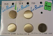 5 Gold Vintage Metal Buttons on Card Le Bouton Size is 7/8 Inch