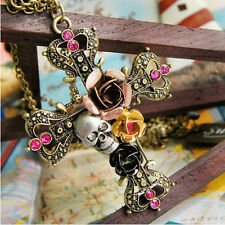 Vintage Fashion Gothic Style Skull Cross Crystal Flower Pendant Chain Necklace