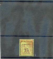GUADELOUPE Sc 5(YT 5)*F-VF HR 1889  25c/20c BRICK/GREEN $75