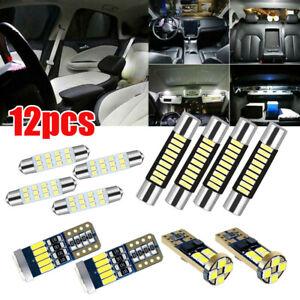 12x White LED Bulbs Car Interior Lights Package Kit License Plate Trunk Lamp