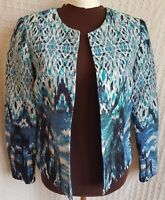 H&M Jacket Blazer Size 6 Abstract Watercolor Textured Lined Career Cotton Linen