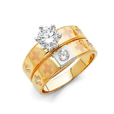 Women 14k 3 Tone Gold CZ Cross Solitaire Wedding Engagement Bridal Set Ring Band