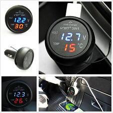 Universal 3in1 Car 12V Digital LED Voltmeter Gauge+Thermometer+USB Charger 2.1A