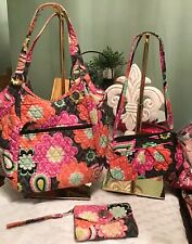VERA BRADLEY Ziggy Zinnia 3 Pc Lot Tote Shoulder Bag Crossbody Turn Lock Wallet