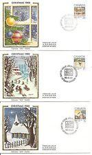 Canada Scott # 870-872 Christmas 1980 FDC, Set of 3 covers. Colorano Cachet.