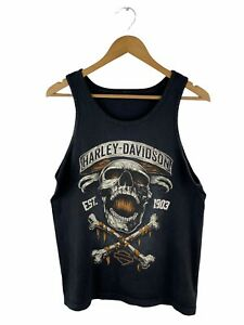 Harley Davidson Logo Singlet Mens Size S Black Sleeveless Sandford Florida USA