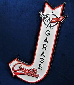 Racing Flags Chevy Chevrolet Corvette Garage Embossed Arrow Tin Metal Sign