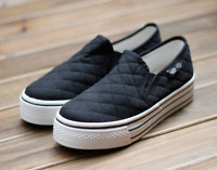 New Women Flat Wedge Heel Platform Canvas Slip On Sneakers Casual Shoes Loafers